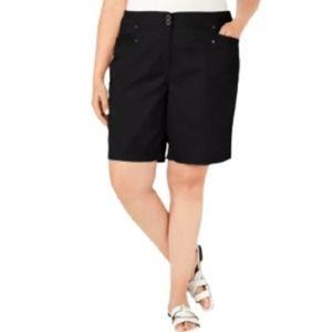 Karen Scott Black Comfort Waist Bermuda Shorts